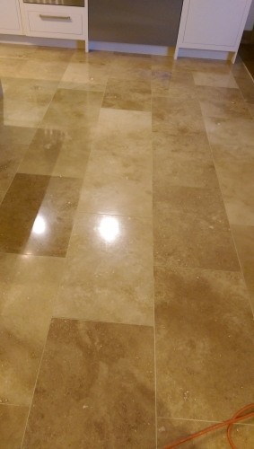 Diamond polished kitchen travertine