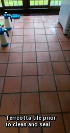 Terracotta floor tiles in Halstead before cleaning