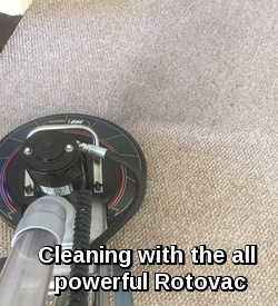 The Rotovac cleaning ingrained dirt on a commercial carpet in Bury St Edmunds