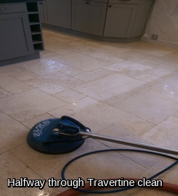 Cleaning a travertine stone floor and grout lines in Braintree
