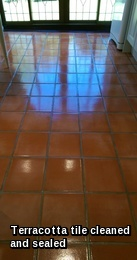 Terracotta tiles in Halstead resealed with 5 coats of topical sealer