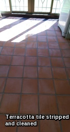 Terracotta tiles in Halstead stripped and cleaned