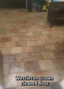 Westleton Crown Terracotta floor tile after being professionally cleaned by Crown Cleaning