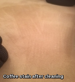 Coffee stain in Great Waldingfield after carpet cleaning treatment