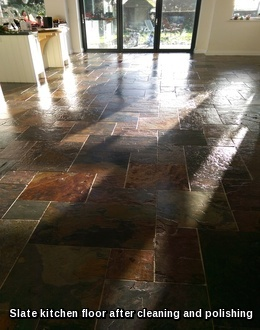Slate floor cleaned and polished