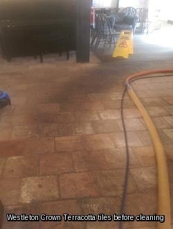 Westleton Crown Terracotta floor tile before cleaning