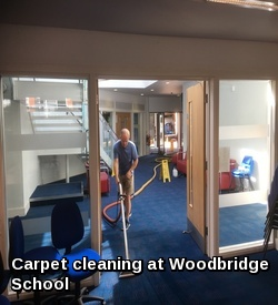 Commercial carpet cleaning at Woodbridge School