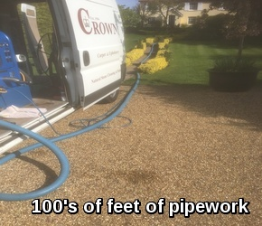 The power and pipework to carpet clean from 100s of feet away